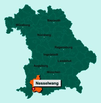 Die Karte von Nesselwang zeigt die Lage im Landkreis Ostallgäu - Der Ort 87484 Nesselwang liegt im Bundesland Bayern