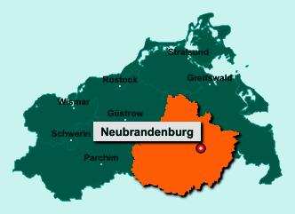 Die Karte von Neubrandenburg zeigt die Lage im Landkreis Mecklenburgische Seenplatte - Der Ort Neubrandenburg liegt im Bundesland Mecklenburg-Vorpommern