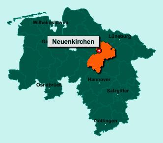 Die Karte von Neuenkirchen zeigt die Lage im Landkreis Heidekreis - Der Ort 29643 Neuenkirchen liegt im Bundesland Niedersachsen
