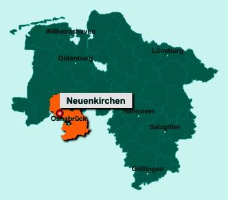 Der Lageplan von 49586 Neuenkirchen zeigt die Position im Landkreis Osnabrück - Der Ort liegt im Bundesland Niedersachsen