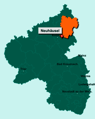 Die Karte von Neuhäusel zeigt die Lage im Westerwaldkreis - Der Ort 56335 Neuhäusel liegt im Bundesland Rheinland-Pfalz