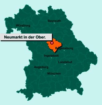 Die Karte von Neumarkt in der Oberpfalz zeigt die Lage im Landkreis Neumarkt in der Oberpfalz - Der Ort Neumarkt in der Oberpfalz liegt im Bundesland Bayern