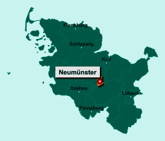 Der Lageplan von Neumünster zeigt die Position im Bundesland Schleswig-Holstein - Dieser Ort ist eine kreisfreie Stadt