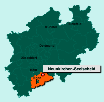 Die Karte von Neunkirchen-Seelscheid zeigt die Lage im Rhein-Sieg-Kreis - Der Ort 53819 Neunkirchen-Seelscheid liegt im Bundesland Nordrhein-Westfalen