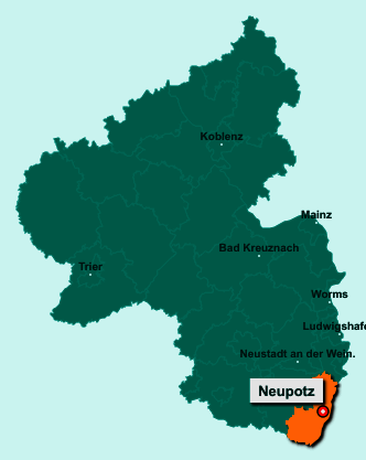 Die Karte von Neupotz zeigt die Lage im Landkreis Germersheim - Der Ort 76777 Neupotz liegt im Bundesland Rheinland-Pfalz