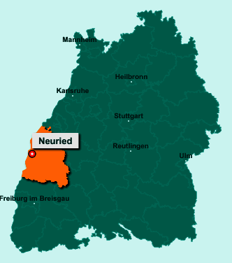 Die Karte von Neuried zeigt die Lage im Ortenaukreis - Der Ort 77743 Neuried liegt im Bundesland Baden-Württemberg
