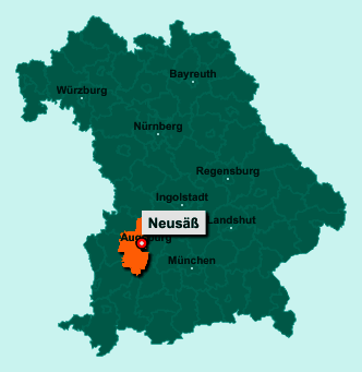 Die Karte von Neusäß zeigt die Lage im Landkreis Augsburg - Der Ort 86356 Neusäß liegt im Bundesland Bayern