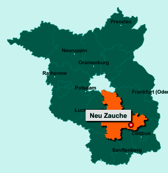 Der Lageplan von 15913 Neu Zauche zeigt die Position im Landkreis Dahme-Spreewald - Der Ort liegt im Bundesland Brandenburg