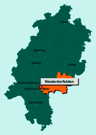 Die Karte von Niederdorfelden zeigt die Lage im Main-Kinzig-Kreis - Der Ort 61138 Niederdorfelden liegt im Bundesland Hessen