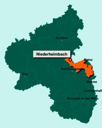 Die Karte von Niederheimbach zeigt die Lage im Landkreis Mainz-Bingen - Der Ort 55413 Niederheimbach liegt im Bundesland Rheinland-Pfalz