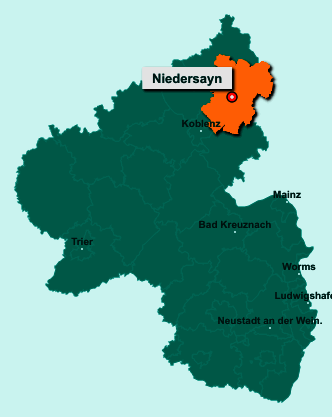 Die Karte von Niedersayn zeigt die Lage im Westerwaldkreis - Der Ort 56244 Niedersayn liegt im Bundesland Rheinland-Pfalz