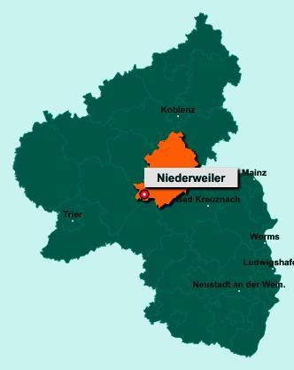 Die Karte von Niederweiler zeigt die Lage im Rhein-Hunsrück-Kreis - Der Ort 55491 Niederweiler liegt im Bundesland Rheinland-Pfalz