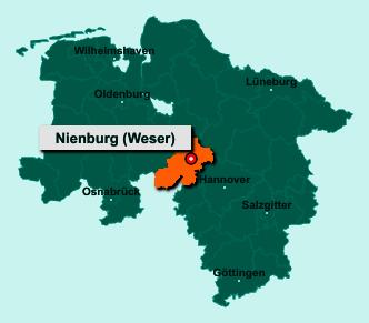 Die Karte von Nienburg (Weser) zeigt die Lage im Landkreis Nienburg/Weser - Der Ort 31582 Nienburg (Weser) liegt im Bundesland Niedersachsen