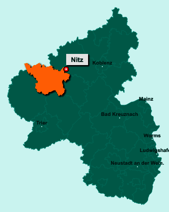 Die Karte von Nitz zeigt die Lage im Landkreis Vulkaneifel - Der Ort 56729 Nitz liegt im Bundesland Rheinland-Pfalz