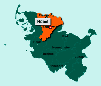 Der Lageplan von 24881 Nübel zeigt die Position im Kreis Schleswig-Flensburg - Der Ort liegt im Bundesland Schleswig-Holstein