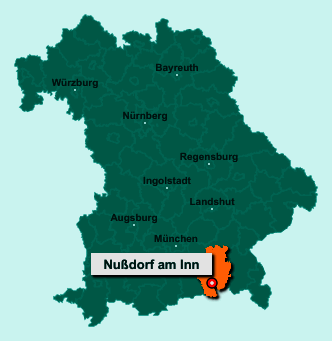 Der Lageplan von 83131 Nußdorf am Inn zeigt die Position im Landkreis Rosenheim - Der Ort liegt im Bundesland Bayern
