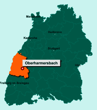 Die Karte von Oberharmersbach zeigt die Lage im Ortenaukreis - Der Ort 77784 Oberharmersbach liegt im Bundesland Baden-Württemberg