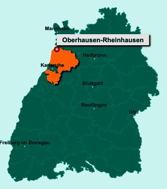 Die Karte von Oberhausen-Rheinhausen zeigt die Lage im Landkreis Karlsruhe - Der Ort 68794 Oberhausen-Rheinhausen liegt im Bundesland Baden-Württemberg