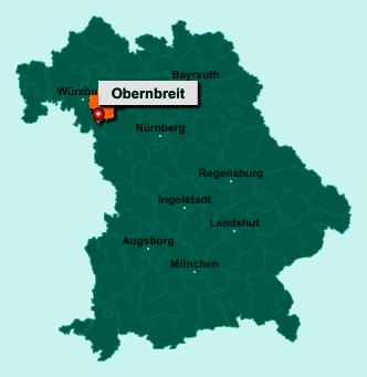 Die Karte von Obernbreit zeigt die Lage im Landkreis Kitzingen - Der Ort 97342 Obernbreit liegt im Bundesland Bayern