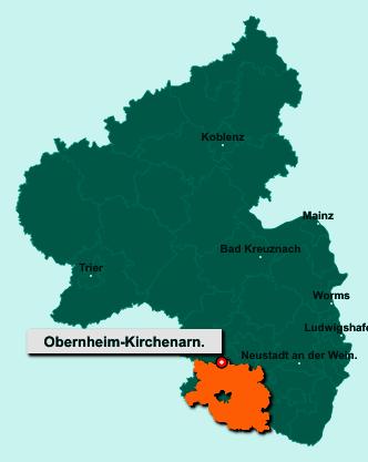 Die Karte von Obernheim-Kirchenarnbach zeigt die Lage im Landkreis Südwestpfalz - Der Ort 66919 Obernheim-Kirchenarnbach liegt im Bundesland Rheinland-Pfalz