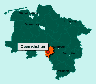 Der Lageplan von 31683 Obernkirchen zeigt die Position im Landkreis Schaumburg - Der Ort liegt im Bundesland Niedersachsen