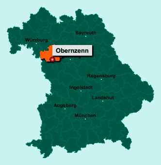 Die Karte von Obernzenn zeigt die Lage im Landkreis Neustadt an der Aisch-Bad Windsheim - Der Ort 91619 Obernzenn liegt im Bundesland Bayern