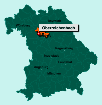 Die Karte von Oberreichenbach zeigt die Lage im Landkreis Erlangen-Höchstadt - Der Ort 91097 Oberreichenbach liegt im Bundesland Bayern