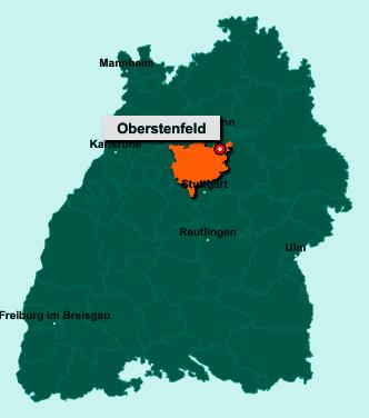 Der Lageplan von 71720 Oberstenfeld zeigt die Position im Landkreis Ludwigsburg - Der Ort liegt im Bundesland Baden-Württemberg
