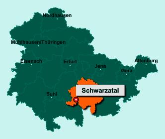 Der Lageplan von 98744 Oberweißbach/Thüringer Wald zeigt die Position im Landkreis Saalfeld-Rudolstadt - Der Ort liegt im Bundesland Thüringen
