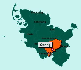 Die Karte von Oering zeigt die Lage im Kreis Segeberg - Der Ort 23845 Oering liegt im Bundesland Schleswig-Holstein
