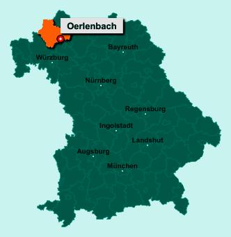 Die Karte von Oerlenbach zeigt die Lage im Landkreis Bad Kissingen - Der Ort 97714 Oerlenbach liegt im Bundesland Bayern