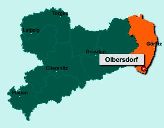 Der Lageplan von 02785 Olbersdorf zeigt die Position im Landkreis Görlitz - Der Ort liegt im Bundesland Sachsen