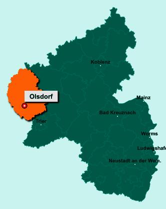 Die Karte von Olsdorf zeigt die Lage im Eifelkreis Bitburg-Prüm - Der Ort 54646 Olsdorf liegt im Bundesland Rheinland-Pfalz