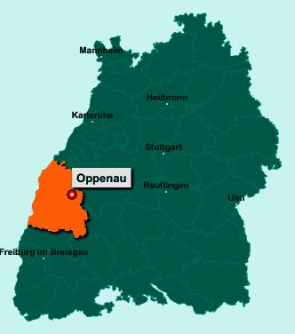 Die Karte von Oppenau zeigt die Lage im Ortenaukreis - Der Ort 77728 Oppenau liegt im Bundesland Baden-Württemberg