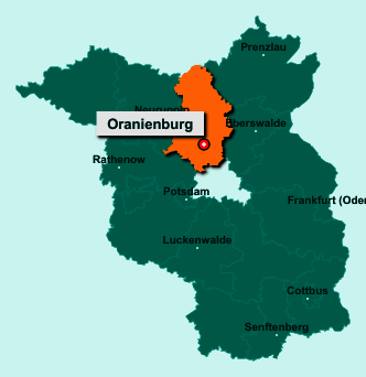Die Karte von Oranienburg zeigt die Lage im Landkreis Oberhavel - Der Ort 16515 Oranienburg liegt im Bundesland Brandenburg