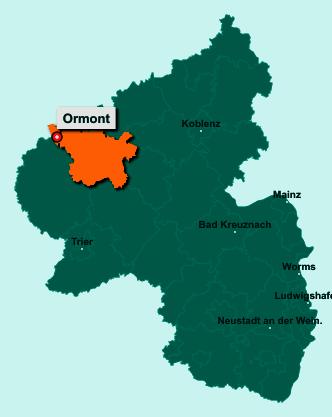 Die Karte von Ormont zeigt die Lage im Landkreis Vulkaneifel - Der Ort 54597 Ormont liegt im Bundesland Rheinland-Pfalz