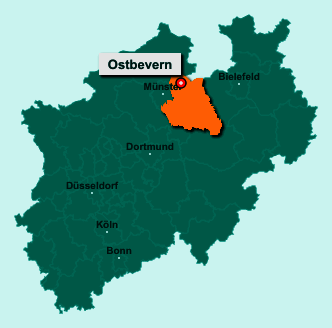 Die Karte von Ostbevern zeigt die Lage im Kreis Warendorf - Der Ort 48346 Ostbevern liegt im Bundesland Nordrhein-Westfalen