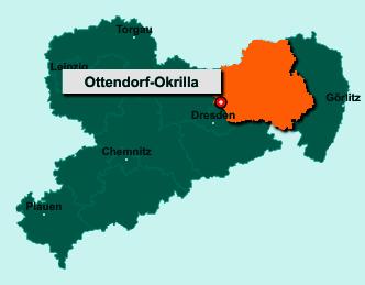 Der Lageplan von 01458 Ottendorf-Okrilla zeigt die Position im Landkreis Bautzen - Der Ort liegt im Bundesland Sachsen