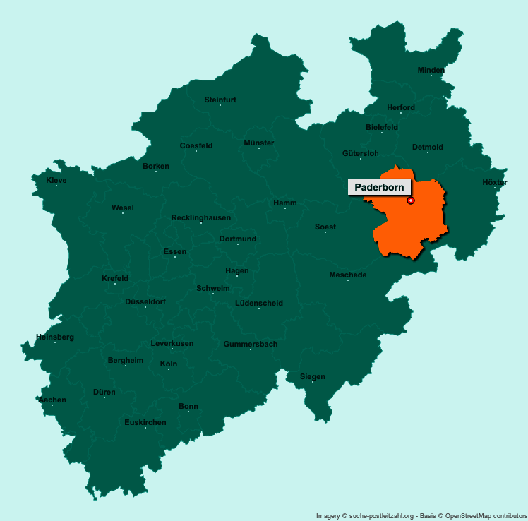 Karte Paderborn.Postleitzahl Paderborn