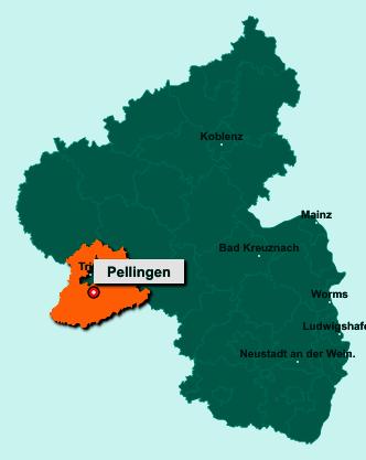 Die Karte von Pellingen zeigt die Lage im Landkreis Trier-Saarburg - Der Ort 54331 Pellingen liegt im Bundesland Rheinland-Pfalz