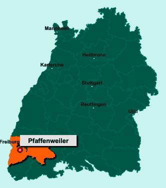Der Lageplan von 79292 Pfaffenweiler zeigt die Position im Landkreis Breisgau-Hochschwarzwald - Der Ort liegt im Bundesland Baden-Württemberg