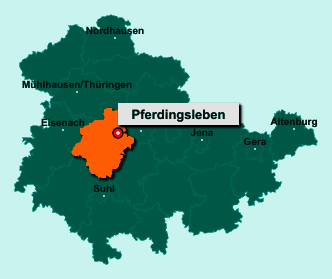Die Karte von Pferdingsleben zeigt die Lage im Landkreis Gotha - Der Ort 99869 Pferdingsleben liegt im Bundesland Thüringen