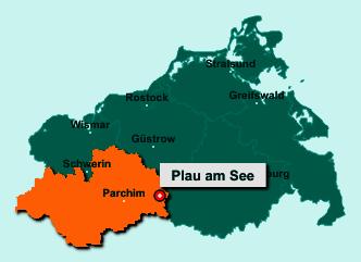Der Lageplan von 19395 Plau am See zeigt die Position im Landkreis Ludwigslust-Parchim - Der Ort liegt im Bundesland Mecklenburg-Vorpommern