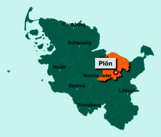 Der Lageplan von 24306 Plön zeigt die Position im Kreis Plön - Der Ort liegt im Bundesland Schleswig-Holstein
