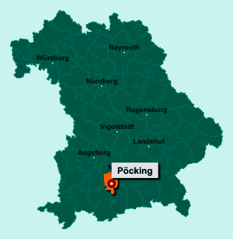 Der Lageplan von 82343 Pöcking zeigt die Position im Landkreis Starnberg - Der Ort liegt im Bundesland Bayern