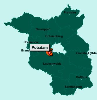 Der Lageplan von Potsdam zeigt die Position im Bundesland Brandenburg - Dieser Ort ist eine kreisfreie Stadt