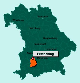 Die Karte von Prittriching zeigt die Lage im Landkreis Landsberg am Lech - Der Ort 86931 Prittriching liegt im Bundesland Bayern