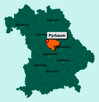 Standort 90602 Pyrbaum auf der Bundeslandkarte von Bayern