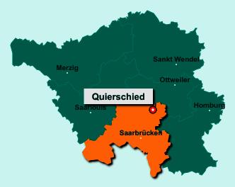 Der Lageplan von 66287 Quierschied zeigt die Position im Landkreis Regionalverband Saarbrücken - Der Ort liegt im Bundesland Saarland