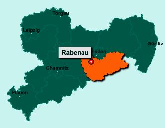 Der Lageplan von 01734 Rabenau zeigt die Position im Landkreis Sächsische Schweiz-Osterzgebirge - Der Ort liegt im Bundesland Sachsen